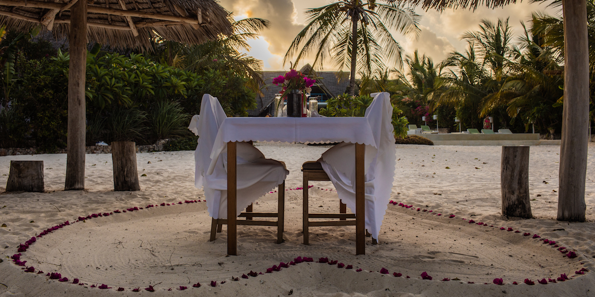 Fun Beach Hotel private beach dinner