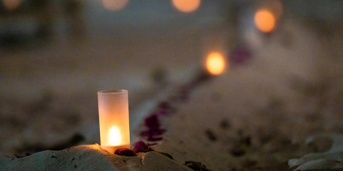 Fun Beach Hotel private beach dinner candle light