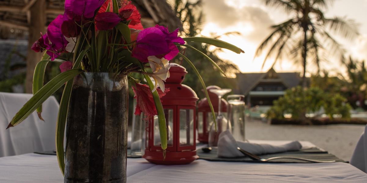 Fun Beach Hotel private beach dinner table