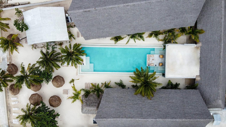 Casa Beach Hotel pool aerial view