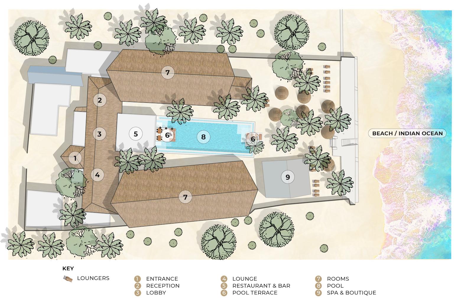 Casa Beach Hotel site map