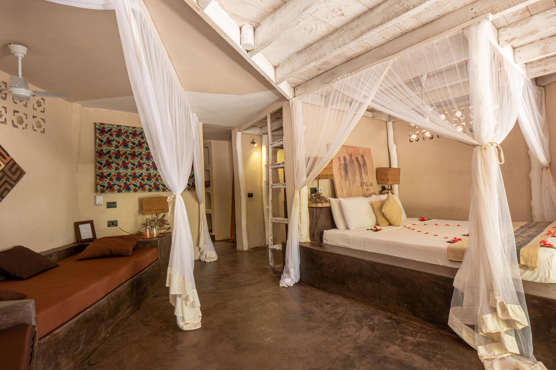 Mwezi Boutique Resort beach house bedroom
