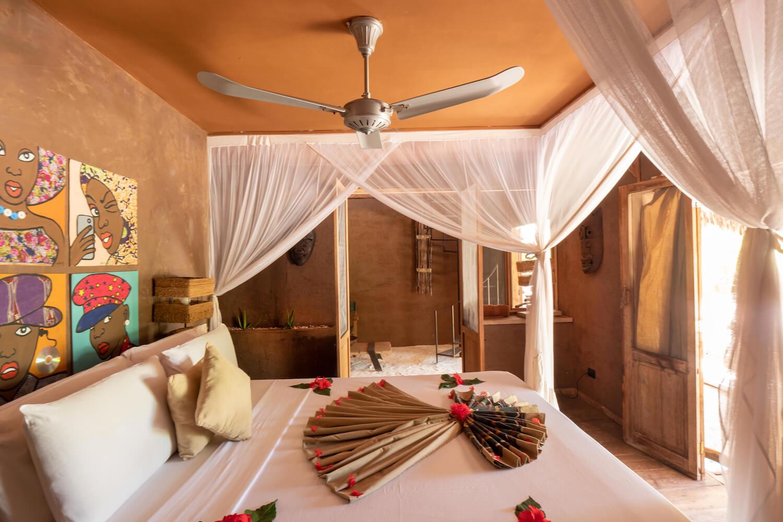 Mwezi Boutique Resort full moon bungalow bedroom