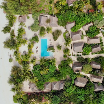 Mwezi Boutique Resort aerial view