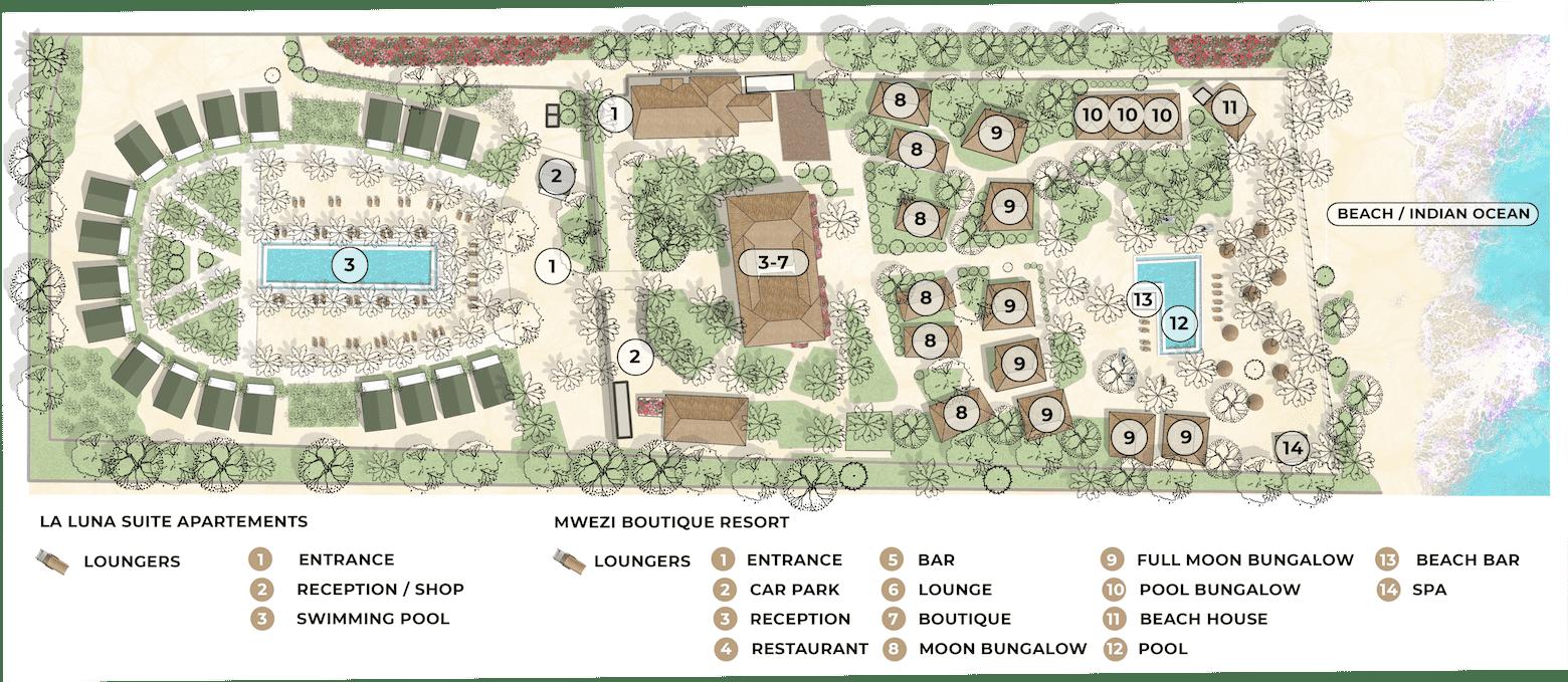 Mwezi Boutique and La Luna Suite Apartments site map