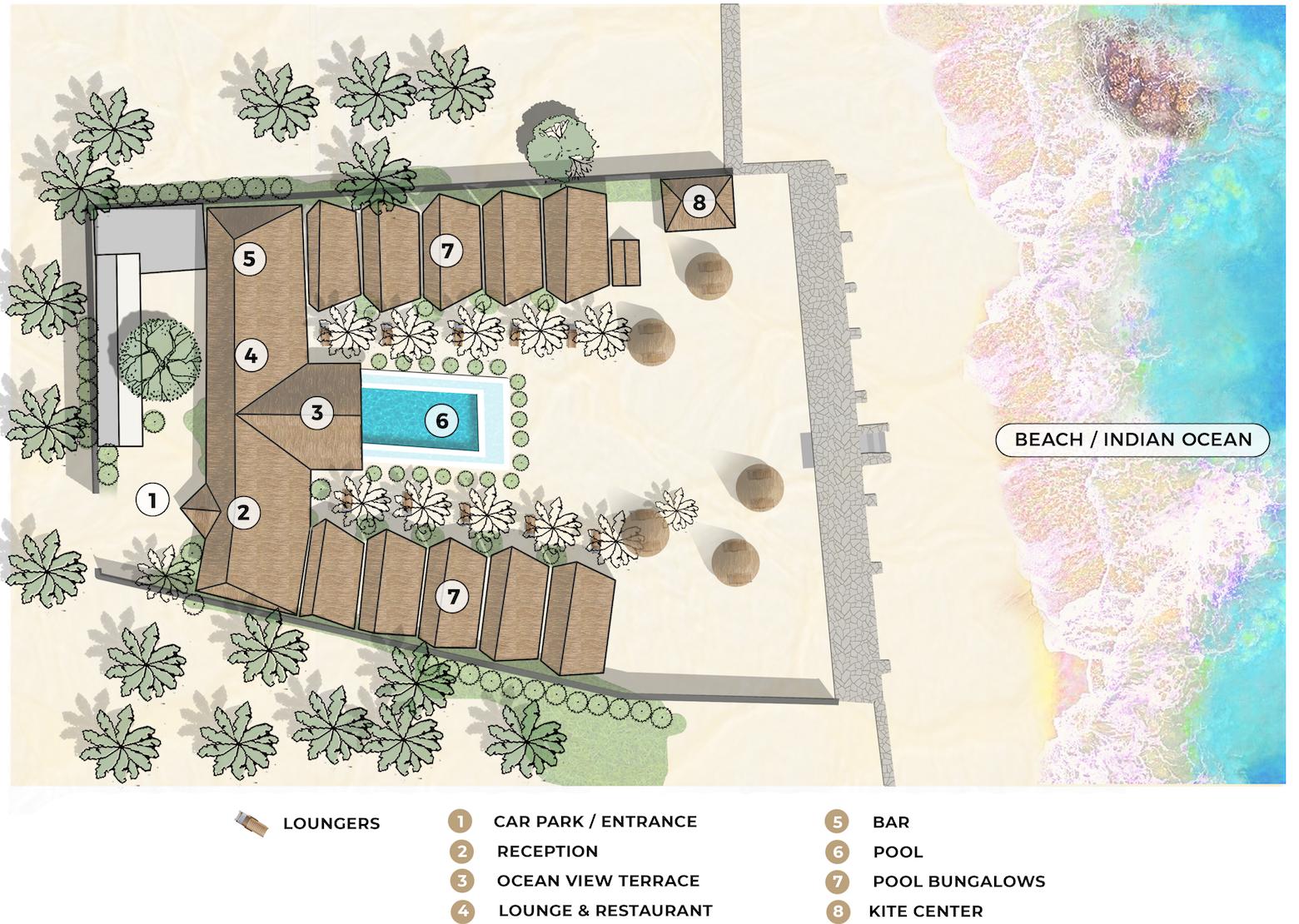 Nur Beach Resort site map
