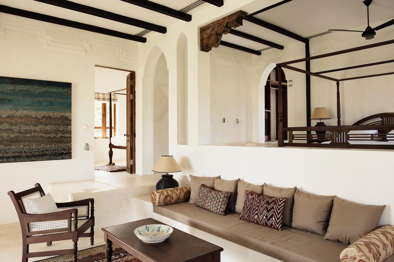 Qambani Luxury Resort Coastal bedroom and lounge area