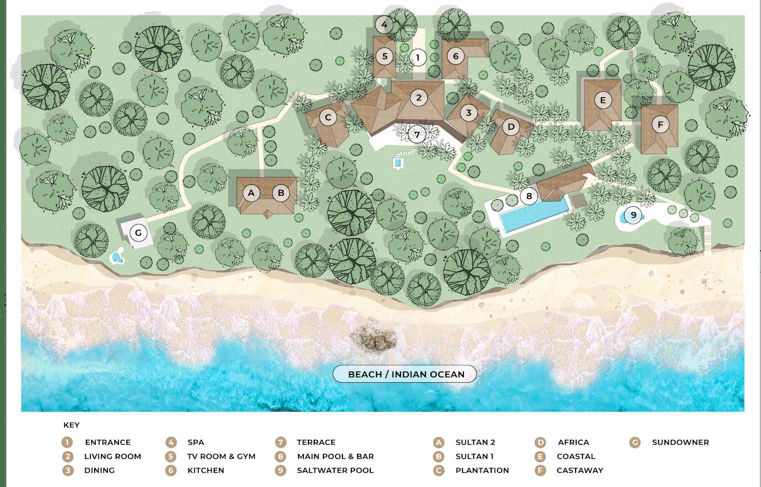 Qambani Luxury Resort site map