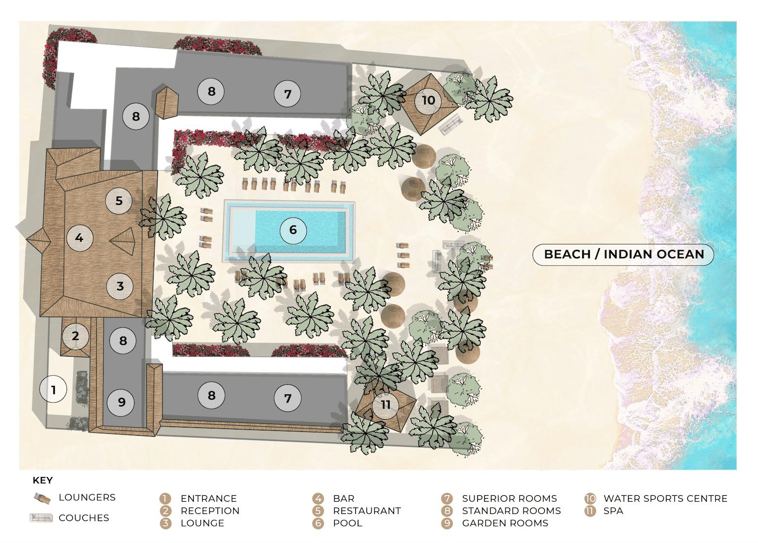 The Loop Beach Resort site map
