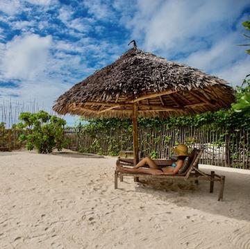 Uzuri Villa private beach area with guest