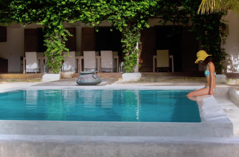 Uzuri Villa pool with guest